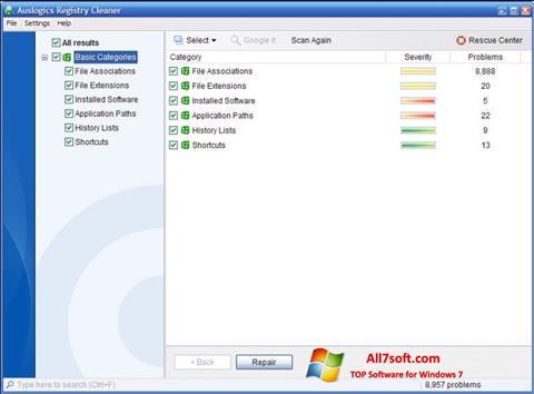 لقطة شاشة Auslogics Registry Cleaner لنظام التشغيل Windows 7