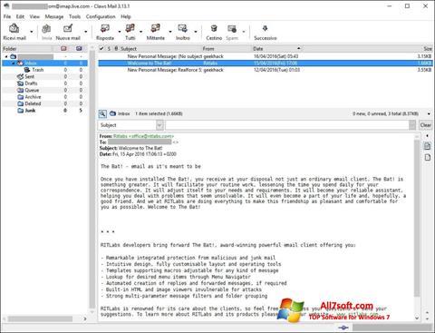 لقطة شاشة Claws Mail لنظام التشغيل Windows 7