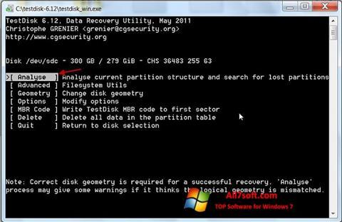 لقطة شاشة TestDisk لنظام التشغيل Windows 7