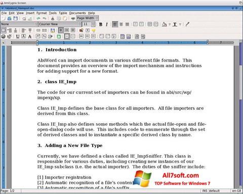 لقطة شاشة AbiWord لنظام التشغيل Windows 7