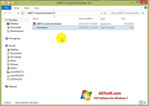 لقطة شاشة ABBYY Screenshot Reader لنظام التشغيل Windows 7