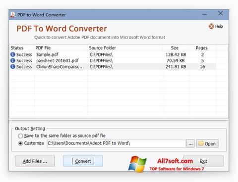 لقطة شاشة PDF to Word Converter لنظام التشغيل Windows 7