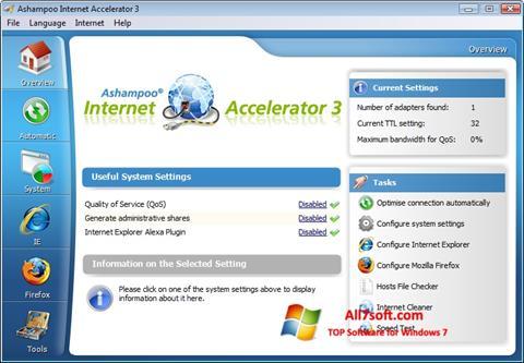لقطة شاشة Ashampoo Internet Accelerator لنظام التشغيل Windows 7