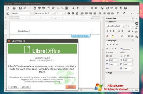 لقطة شاشة LibreOffice لنظام التشغيل Windows 7
