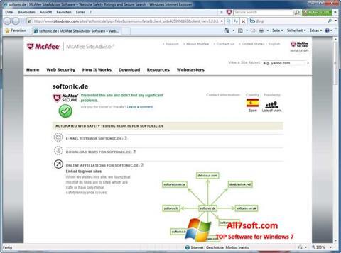لقطة شاشة McAfee SiteAdvisor لنظام التشغيل Windows 7