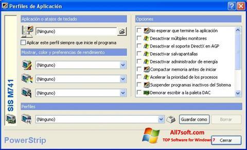 لقطة شاشة PowerStrip لنظام التشغيل Windows 7