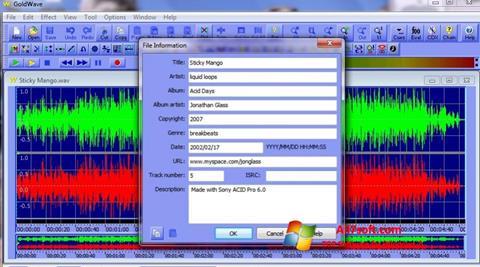 لقطة شاشة GoldWave لنظام التشغيل Windows 7