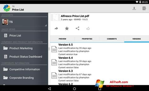 لقطة شاشة Alfresco لنظام التشغيل Windows 7