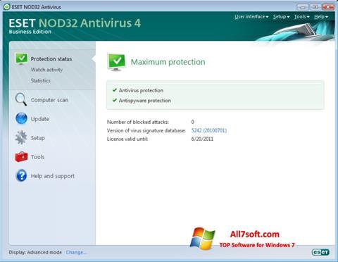 لقطة شاشة ESET NOD32 لنظام التشغيل Windows 7