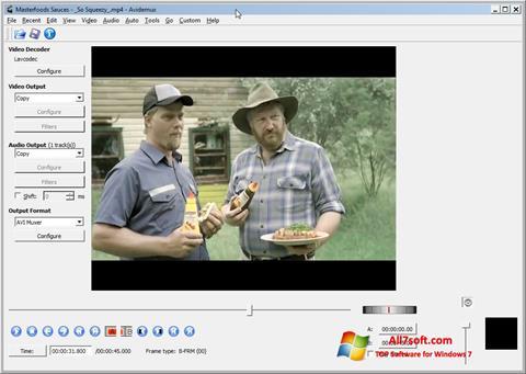 لقطة شاشة Avidemux لنظام التشغيل Windows 7