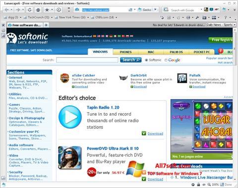 لقطة شاشة Lunascape لنظام التشغيل Windows 7