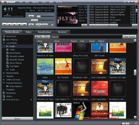 لقطة شاشة Winamp لنظام التشغيل Windows 7