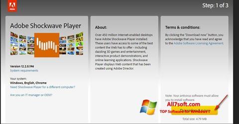 لقطة شاشة Adobe Shockwave Player لنظام التشغيل Windows 7