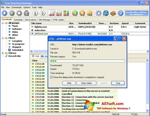 لقطة شاشة Download Master لنظام التشغيل Windows 7