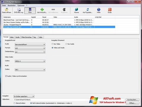 لقطة شاشة XMedia Recode لنظام التشغيل Windows 7