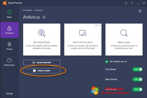 لقطة شاشة Avast لنظام التشغيل Windows 7