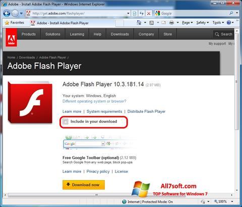 لقطة شاشة Adobe Flash Player لنظام التشغيل Windows 7
