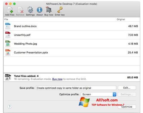لقطة شاشة NXPowerLite لنظام التشغيل Windows 7