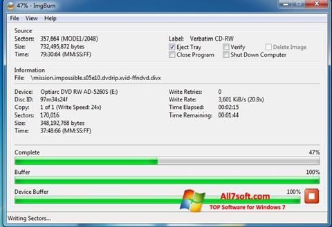 لقطة شاشة ImgBurn لنظام التشغيل Windows 7
