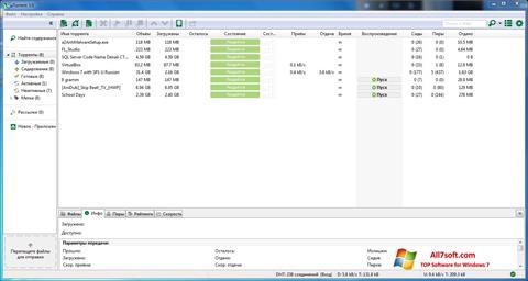 لقطة شاشة uTorrent لنظام التشغيل Windows 7