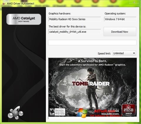 لقطة شاشة AMD Driver Autodetect لنظام التشغيل Windows 7