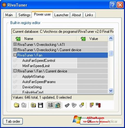 لقطة شاشة RivaTuner لنظام التشغيل Windows 7