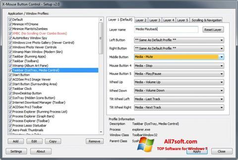 لقطة شاشة X-Mouse Button Control لنظام التشغيل Windows 7