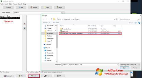 لقطة شاشة ArtMoney لنظام التشغيل Windows 7