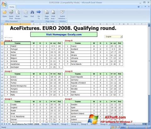 لقطة شاشة Excel Viewer لنظام التشغيل Windows 7