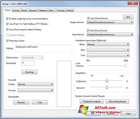 لقطة شاشة Ventrilo لنظام التشغيل Windows 7