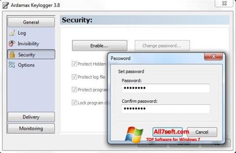 لقطة شاشة Ardamax Keylogger لنظام التشغيل Windows 7