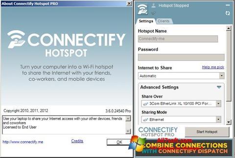 لقطة شاشة Connectify لنظام التشغيل Windows 7