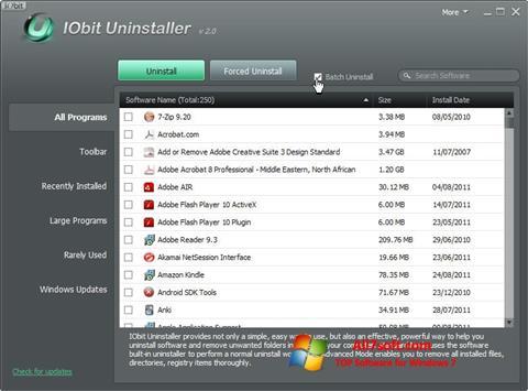 لقطة شاشة IObit Uninstaller لنظام التشغيل Windows 7