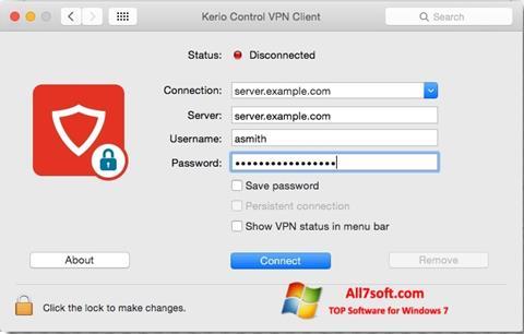 لقطة شاشة Kerio VPN Client لنظام التشغيل Windows 7