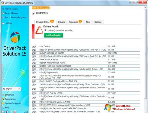 لقطة شاشة DriverPack Solution لنظام التشغيل Windows 7