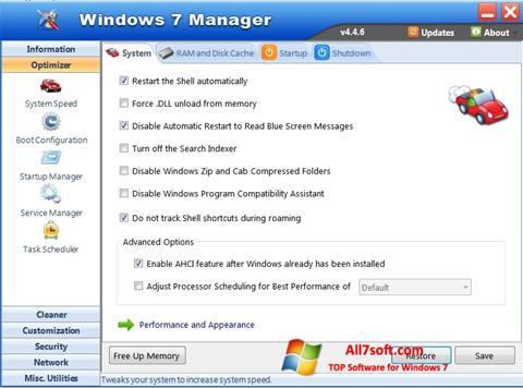 لقطة شاشة Windows 7 Manager لنظام التشغيل Windows 7