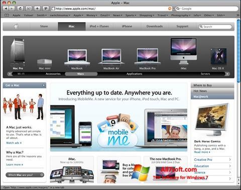 لقطة شاشة Safari لنظام التشغيل Windows 7