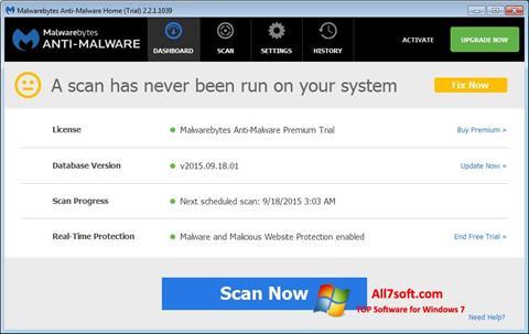 لقطة شاشة Malwarebytes Anti-Malware Free لنظام التشغيل Windows 7