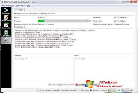 لقطة شاشة MKVToolnix لنظام التشغيل Windows 7