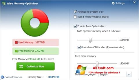 لقطة شاشة Wise Memory Optimizer لنظام التشغيل Windows 7