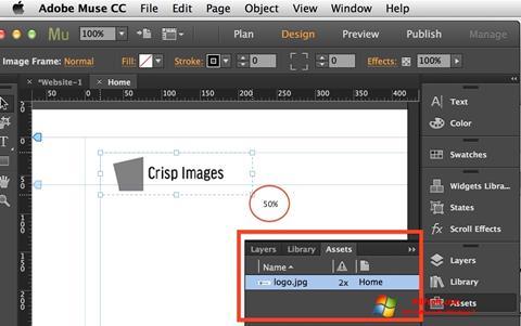 لقطة شاشة Adobe Muse لنظام التشغيل Windows 7