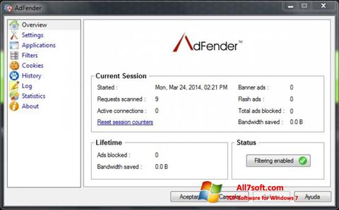 لقطة شاشة AdFender لنظام التشغيل Windows 7