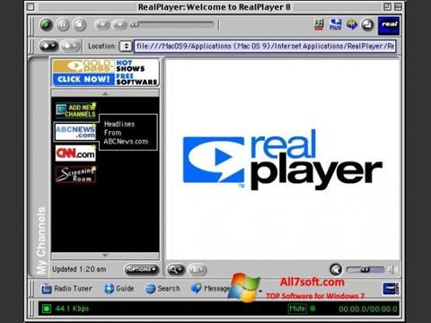 لقطة شاشة RealPlayer لنظام التشغيل Windows 7
