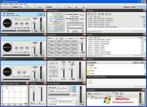 لقطة شاشة SAM Broadcaster لنظام التشغيل Windows 7