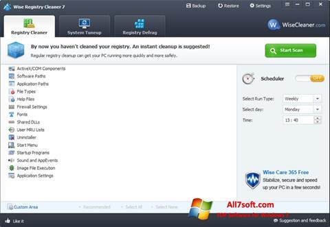 لقطة شاشة Wise Registry Cleaner لنظام التشغيل Windows 7