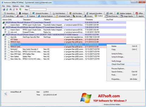 لقطة شاشة AutoRuns لنظام التشغيل Windows 7