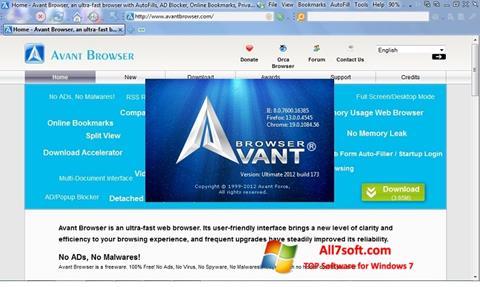 لقطة شاشة Avant Browser لنظام التشغيل Windows 7