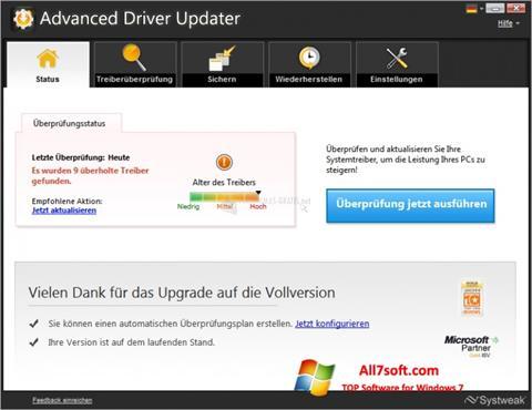 لقطة شاشة Advanced Driver Updater لنظام التشغيل Windows 7