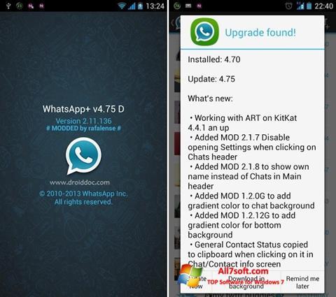 لقطة شاشة WhatsApp Plus لنظام التشغيل Windows 7