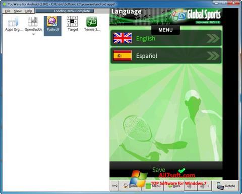 لقطة شاشة YouWave لنظام التشغيل Windows 7